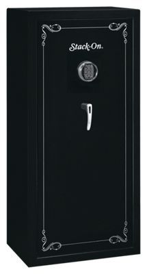 This Stack-On Gun Safe features an electronic lock that has a drill resistant, hardened steel plate behind the lock for greater security. A 2-Way lock with three - 1inch steel live action locking bolts and 3 dead bolts, for a total of 6 locking points, secure your firearms and other valuables from forceful entry. Four adjustable shelves allow you to customize your storage needs. The interior and shelves are fully carpeted, to protect your firearms and valuables from dings and scratches. The electronic lock runs on batteries that are accessible from the front of the safe and are easy to replace, and comes with a backup key. The Stack-On 22 Gun Electronic Gun Safe has been approved by the California Department of Justice as meeting their standards for firearm safety-so you know it's safe.26-3/4inch. W x 17-5/8inch. D x 55inch. H. Weight: 262 lbs.Manufacturer model #: SS-22-MB-E-DS.Drill resistant, hardened steel plate behind lock2-Way lock with 6 locking points. Carpeted interior protects firearms from scratches. Adjustable shelves accommodatescustom storage needs. Comes with a backup key - $499.99