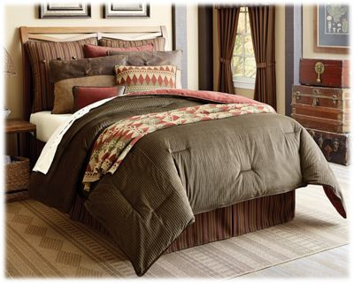 Classic corduroy, warm stripes, chenille, knit, and faux leather combine to create the inviting Wilderness Ridge Bedding Collection. This Comforter Set comes with a comforter, a bedskirt, a knitted pillow, an accent pillow, and 2 standard pillow shams (twin has 1 pillow sham; king has 2 king pillow shams). This rustic bedding set's rich colors and interesting textures add appeal to any space. Wilderness Ridge bedding pieces are made of 50% cotton/50% polyester with 100% polyester filling. Dry clean only. Imported.Includes comforter, bedskirt, 2 shams, knitted pillow, and accent pillow (twin has 1 sham; king has 2 king shams)Cotton/polyester with 100% polyester filling. Dry clean only. Twin comforter measures 68inch x 88inch. Full comforter measures 80inch x 90inch. Super Queen comforter measures 92inch x 96inch. Super King comforter measures 110inch x 96inch. Shop the entire Wilderness Ridge Collection - $299.99