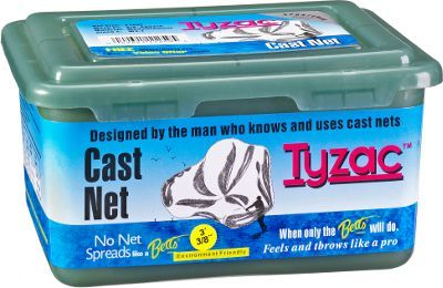 Perfect for catching small baitfish in fresh and saltwater, these easy-to-use Betts Tyzac Cast Nets were designed by people who know cast nets. Opens fully and sinks quickly, with a radius of your choosing; coated iron weights provide 3/4 lb. per foot; 3/8'' mesh. Packed in a durable utility box and includes how-to instructions.Ideal for small baitfish. Opens fully. Sinks quickly. Coated iron weights. Includes utility box and instructions - $32.99