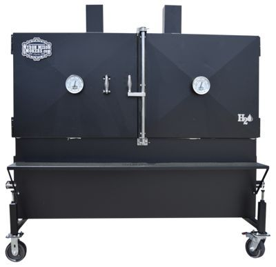 Smoke enough delicious, off-the-charts, mouth-watering barbeque to feed your whole town with the Myron Mixon MMS-72XC Flat Rack H2O Smoker. This high performance, high capacity smoker uses Mixon's proven Waterpan Technology, an indirect water cooking system that evenly disperses heat throughout the cooking chamber to lock in meat's natural juices. This innovative style gives you the option of cooking hot and fast or low and slow, making cooking great barbeque effortless and delicious. Made of durable 12-gauge steel fully insulated around the smoking chamber with 1inch thick, military-grade insulation, this smoker keeps heat and moisture in to keep all that precious smoke flavor inside. This insulated design and full length water pan also allows you to cook hotter and faster while maintaining consistent temperatures, requiring less fuel and time. The Flat Rack H2O smokers' unique rectangular shape maximize cooking capacity to give you up to 47 square feet of smoking space to cook delicious barbeque. This shape delivers equal meat capacity on the top, middle, and bottom steel cooking grates, maximizes smoking area, and offers the option to add additional racks for even more capacity. Stainless steel slide dampers on the firebox and 2 chimney stacks give you control over the fire inside, while the 2 Myron Mixon Smokers temperature gauges in the barn door-style doors helps you monitor the temperature inside at a glance. Handy front shelf gives you space for supplies and food prep. Durable 6inch casters for easy moving. Durable black powdercoat finish with zinc primer base coat for long life. Sight glass. 1.5inch drain. Dimensions (w/o shelves): 72inch. L x 36inch. W x 80inch. H. Three 68.75inch x 32.75inch cooking grates. Weight: 1800 lbs. Made in USA. Manufacturer model #: MMS-72XC.High performance, huge capacity smoker with indirect water cooking system. Locks in meat's natural juices - mouth-watering barbeque every time. Waterpan Technology - evenly disperses heat throughout cooking chamber. Durable 12-gauge steel construction. Fully insulated around smoking chamber with 1inch thick, military-grade insulation. Unique rectangular shape - maximizes cooking capacity47 square feet of smoking space - smoke 162 half chickens, 72 racks of St. Louis ribs, or 500 lbs of pork. Stainless steel slide dampers on firebox and 2 chimney stacks - great heat control2 temperature gauge in barn door-style doors - monitor temperature at a glance. Front shelf. Durable 6inch casters. As a three-time world barbecue champion, Myron Mixon is the winningest man in barbecue. He is the chief cook of the Jack's Old South Competition Bar-B-Que Team; the star of Destination America's BBQ Pitmasters and new docureality show for Destination America; the author of the New York Times bestselling cookbook inch. Smokin' with Myron Mixon: Recipes Made Simple, from the Winningest Man in Barbecueinch (Random House, May 2011) and the upcoming inch. Everyday Barbecueinch (Random House, May 2013). He is widely recogni - $8,699.99
