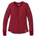Work, play, or relax in this Carhartt Hayward Henley for ladies, touting comfy waffle knit. Garment washed for softness, this striped henley features durable triple-stitched cover seams and ribbed cuffs. This 7.5-oz., 59% cotton/39% polyester/2% spandex henley is slightly fitted and has a Carhartt logo detail at the hem. Machine wash. Imported.Waffle knit henley4-button ring-snap front placket. Garment washed for softness. Ribbed cuffs. Durable triple-stitched cover seams. Carhartt logo patch at hem. Slightly fitted - $29.97