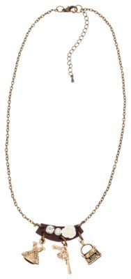 Showcase your love of the Old West with the Pink House Southwestern Pendant Necklace. Measuring 18inch long, this charm necklace is detailed with a gold tone dress, a gun, and a purse, and topped with a rhinestone, a pearl, and a rose. Featuring a lobster claw closure, this pendant necklace makes a great gift. One size fits most. Imported.Manufacturer style #: 40643.Southwestern charms include a purse, a gun, and a dress. Pendant is topped with a rhinestone and a pearl. Measures 18inch long with an extender. Lobster claw closure. Makes a great gift - $12.99