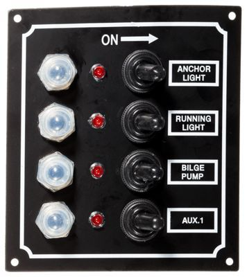 The Seasense 4-Gang and 6-Gang LED Marine Switch Panels are a waterproof toggle marine switch panel that comes complete with pushbutton reset breakers, toggle switches, LED indicator lights, and marine-grade tinned wire. For your convenience, extra labels are included for different applications. 12V panel rating, 40 amps total. Individual circuit: 10 amps. Seasense Marine Switch Panels Include stainless steel mounting hardware. Corrosion-free aluminum panel.Waterproof. Pushbutton reset breakers. Toggle switches. LED indicator lights. Marine-grade tinned wire12V, 40 amps. Includes stainless steel mounting hardware. Corrosion-free aluminum panel - $41.99