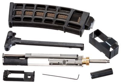 The CMMG Arc-22 India AR-15 Conversion Kit allows you to shoot inexpensive .22 LR ammo in your AR-15. This is a drop-in .22 LR conversion system that comes fully assembled and ready to install in any semi-auto AR-15. To install, simply replace your AR's bolt and carrier with the conversion unit, load up the included 25-round magazine with high-velocity, round-nose .22 LR ammo, and you're ready to shoot. The Arc-22 India 22 conversion kit has a stainless steel bolt group, and a stainless steel bolt carrier, with a brass extension bushing. The Arc-22 India also includes a buffer retaining pin relief cut, a locking extension bushing, and comes complete with removable forward assist, an anti-jam charging handle, and a stainless steel cleaning jag/guide rod and a magazine loader. Includes one 25-round 25R3 magazine with bolt hold open actuator. The CMMG Arc-22 India 22 LR AR-15 Conversion Kit enables you to concentrate on improving tactical shooting skills with your AR without burning up expensive centerfire .223 ammo. Made in USA. Manufacturer model #: 22BA68D.Swaps AR-15 bolt and carrier with drop-in kit. Includes one 25-rd magazine. Magazine features bolt hold open follower. Comes with forward assist and anti-jam charging handle. Stainless steel construction and stainless steel bolt group. Stainless steel cleaning jag/guide rod. Includes magazine loader - $339.99