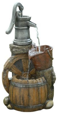 Relax to the soothing sound of a multi-level water feature with the Alpine Old-Fashioned Pump Barrel Floor Fountain. This 24inch polyresin and fiberglass floor fountain features a wagon wheel, water pump, bucket, and barrel in realistic detail. Crafted to be balanced and durable indoors or outdoors, the Alpine Old-Fashioned Pump Barrel Floor Fountain comes with the pump and parts to create the flowing water fountain for your home or garden. Dimensions: 12inch x 9inch x 24inch.Manufacturer model #: WCT688.Made of polyresin, fiberglass, and stone powder. Crafted to be balanced and durable. Indoor or outdoor use. Pump included - $99.99