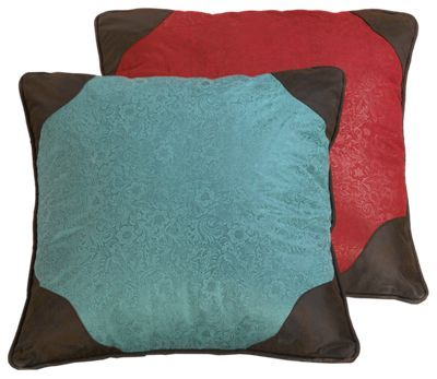 The Cheyenne Red Collection Reversible Euro Sham consists of 2 faux tooled leather fabrics; bold western red on one side and luxurious western turquoise. Faux leather detailing adds an unmistakable western element to the design. Made of 100% polyester, this faux leather sham measures 27inch x 27inch and adds rustic appeal to your home or cabin. Dry clean only. Imported. Manufacturer style #: WS4001ES.Faux tooled leather sham. Western red reverses to luxurious turquoise100% polyester. Adds rustic appeal to any space. Measures 27inch x 27inch. Dry clean only - $49.99