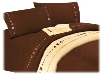 Sleep on a touch of the rugged outdoors with the Star Collection Sheet Set. Embroidered stars on these 100% cotton sheets are inspired by the wide-open spaces of cowboy country. The complete sheet set includes a fitted sheet, flat sheet, and 2 pillowcases (twin set includes 1 pillowcase). The Star Sheet Set is ideal for horse, western, or cabin style bedroom d?cor. Machine wash. Imported.100% cotton sheets. Embroidered stars along hem of pillowcases and flat sheet. Super soft and cozy. Includes fitted sheet, flat sheet, and 2 pillowcases (twin set includes 1 pillowcase)A distinctive touch for country, western, or rustic cabin d?cor - $109.99