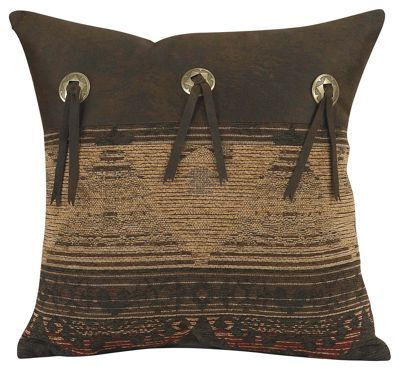 This Sierra Collection Accent Pillow showcases an earth-inspired pattern with colors and elements inspired by nature. Made of 100% polyester, this throw pillow measures 16inch x 16inch and infuses any space with rustic appeal. Accented with layered faux leather and conchos. Dry clean only. Imported.Manufacturer style #: LG1830P2.Earth-inspired accent pillow. Detailed with faux leather and conchos. Infuses any space with rustic charm100% polyester. Measures 16inch x 16inch. Dry clean only. Shop the entire Sierra Collection - $39.99
