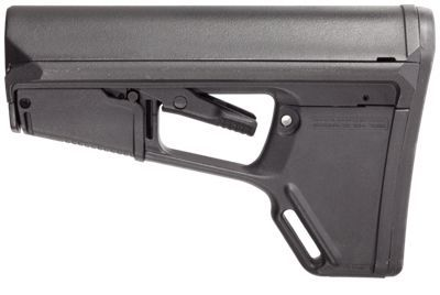 The Magpul ACS-L Light Stock (Adaptable Carbine Stock - Light) replaces the buttstock on AR15 and M16 carbines. The ACS-L stock's streamlined A-frame profile avoids snagging and shields the release latch to prevent accidental activation. Common to all Magpul AR15 accessories, the ACS-L stock is designed for fast-action, tactical environments where speed is crucial. The Magpul ACS-L stock features a supplemental friction lock system that minimizes excessive stock movement for enhanced accuracy, a storage compartment in tail of the stock with a positive latching access door, and a sloping cheek weld that provides a wide contact surface for shooter comfort. The Magpul ACS-L stock also includes a standard 0.30inch non-slip rubber butt-pad, which aids when shooting with body armor or modular gear; and is compatible with Magpul ASAP, and other receiver-mount sling attachments. The Magpul ACS-Lstock features ambidextrous QD sling mount that accepts push-button sling swivels, and integral rear and bottom 1inch sling loops. This is a inchdrop-ininch buttstock that installs easily. Manufacturer model #: MAG378-BLK.Storage compartment in tail of stock with positive latching access. Friction lock system enhances accuracy by minimizing excessive stock movement. Sloping cheek weld provides a wider contact surface. Ambidextrous QD sling mount accepts push-button sling swivel. Shielded release latch prevents accidental operation. Rubber butt-pad provides non-slip shoulder purchase. Compatible with receiver-mount sling attachments. A-frame profile avoids snagging. Integral sling loops - $99.99