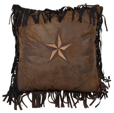 Warm up your space with the Brown Mustang Collection Embroidered 2-Tone Star Accent Pillow. This handsome square pillow features warm brown faux leather and a 2-tone embroidered star. Twisted cord trim and faux leather fringe complete the look. Pillow has a polyfill pillow form and a zip closure. Measures 18inch x 18inch. Made of 100% polyester. Dry clean only. Imported. Manufacturer style #: JB4175.Chocolate faux leather pillow2-tone embroidered star in center. Faux leather fringe. Polyfill pillow form. Zip closure. Dry clean only. Measures 18inch x 18inch. Shop the entire Brown Mustang Collection - $29.99