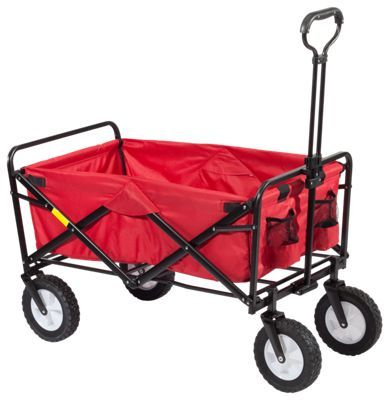 Handy, pull behind, fold-up wagon Great for use around the home, garden, beach, campsite, and more. Strong steel fold-up frame. Durable 600 denier polyester fabric wagon body. Quick and easy setup - no assembly required. Holds up to 150 lbs.A handy tool for gardening, camping, sporting events, picnics, and much more, the Mac Sports Fold-Up Utility Wagon works all day and folds up at the end of the day. Quick and easy to setup, the Utility Wagon's strong steel frame stands up to hard work all day long and then folds up compactly for easy transport and storage. The wagon's lightweight and durable 600 denier polyester fabric wagon body provides great strength and durability, holding up to 150 lbs. No assembly required. Weight: 22.5 lbs. Imported. Manufacturer model #: WTC-109. - $79.99