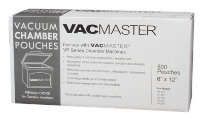 Whether on the hunt, on the water or in the garden, you work hard to put food on your table. Vac. Master Chamber Pouches are constructed of heavy-duty nylon/poly puncture and abrasion resistant 3mil material to guarantee optimum freshness and a reliable seal. Keep your food fresh up to 5-times longer than standard shelf life in freezer-, refrigerator-, microwave- and boil-safe Chamber Pouches. Vac. Master Chamber Pouches are designed solely for use with Vac. Master VP Series Chamber machines. Nylon/Poly heavy-duty chamber pouches3-mil material for reliable seal and optimum freshness. Puncture and abrasion resistant. Keeps food fresh up to 5x longer. For use with Vac. Master VP Series Chamber Machines. Freezer, refrigerator, microwave and boil safe - $39.99