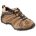 High speed hiking shoe that keeps your feet dry and comfortable. Leather and mesh upper. M Select Dry waterproof technology for breathable protection from wet conditions. Comfortable mesh lining with M Select FRESH odor fighting technology. Molded, removable EVA footbeds with M Select FRESH - superior cushioning and support. Heel air cushions for additional shock absorption and stability. Molded nylon arch shank - superior stability over uneven terrain. M Select GRIP outsoles - specially designed rubber sole with deep 4 mm lugs. Explore local trails and scramble over rugged areas without hesitation in the Chameleon Prime Stretch Waterproof Hiking Shoe from Merrell. This rugged, performance hiking shoe combines durable leather and mesh uppers with M Select Dry waterproof technology for breathable protection from whatever the trail throws at you. Inside, the Chameleon Prime Stretch resists odors with M Select FRESH technology in the breathable mesh linings and Molded, removable EVA footbeds. Heel air cushions work with the footbeds to give hikers great cushioning and stability out on the trail. Molded nylon arch shanks give this performance hiker additional stability over uneven ground. M Select GRIP rubber outsoles feature with deep 4 mm lugs for trustworthy traction over the roughest trails. Average weight: 2 lbs. Imported. Manufacturer model #: J21401. - $129.99