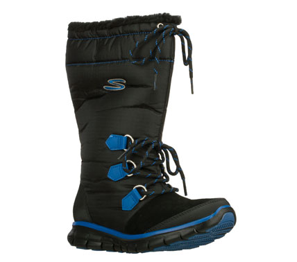 Ski Sporty apres-ski style and comfort come in the SKECHERS Synergy - Flexers boot.  Smooth ripstop nylon fabric; synthetic and faux suede upper in a slip on mid calf height casual cool weather boot with stitching and overlay accents. - $85.00
