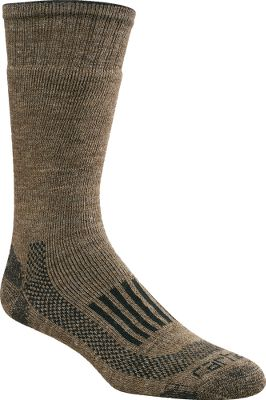 Built to wear with midhigh boots and shoes, these crew-length socks have thermal-weight fabrics to keep you warm on the coldest days. Reinforced heels and toes provide superior protection and durability where you need it most. Premium fabrics deliver moisture-wicking comfort, while the spandex throughout offers a contoured, foot-pleasing fit. Flat-toe seams wont rub or irritate. Odor-resistant. Made in USA. Mens size: L(6-12). Colors: Heather Grey 43% acrylic, 21% polyester, 19% wool, 16% nylon, 1% spandex Brown 43% acrylic, 21% polyester, 19% wool, 16% nylon, 1% spandex Charcoal 43% acrylic, 21% polyester, 19% wool, 16% nylon, 1% spandex Tan 42% acrylic, 21% polyester, 19% wool, 17% nylon, 1% spandex Carhartt Style No.: A2444. Size: L. Color: Gray. Gender: Male. Age Group: Adult. Material: Polyester. Type: Socks. - $12.99