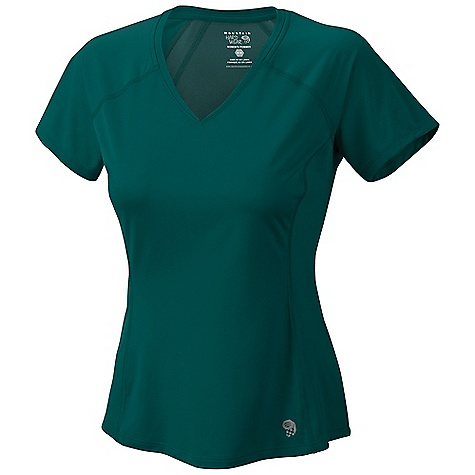 Free Shipping. Mountain Hardwear Women's Tephra Trek SS T DECENT FEATURES of the Mountain Hardwear Women's Tephra Trek Short Sleeve T Wick.Q EVAP on back panel disperses moisture for quick evaporation Wicking, fast drying, stretch fabric Seams rotated away from pressure points for comfort under a pack Antimicrobial finish controls odor The SPECS Average Weight: 3 oz / 94 g Center Back Length: 25in. / 64 cm Body: Tipa Warp Knit (100% polyester) Panel: Wick.Q EVAP Tipa Warp Knit (100% polyester) - $54.95