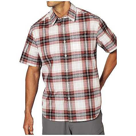Free Shipping. Ex Officio Men's Kallu Macro Plaid S-S Top DECENT FEATURES of the Ex Officio Men's Kallu Macro Plaid S/S Top Lightweight cotton and polyester blend Critical seams moved off the shoulder to prevent rubbing Button-front placket Chest pocket on left Shirttail hem Fabric: 55% cotton, 45% polyester - $49.95