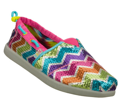 Entertainment Brighten her style with the SKECHERS Bobs World - Sweet Kicks shoe.  Soft woven fabric upper with mini sequin finish in a slip on casual alpargata flat with color stripes; stitching and overlay detail. - $30.00