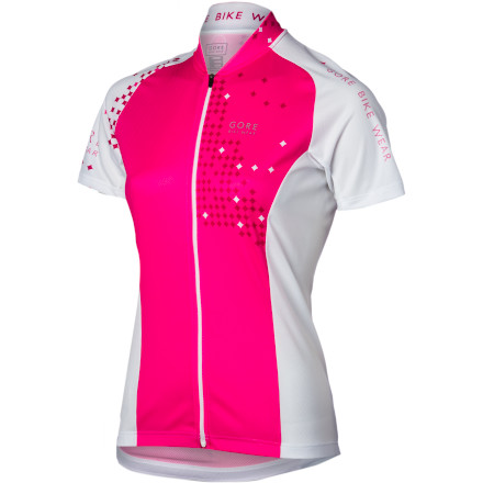 Fitness You don't have to spend an arm and a leg to get a race-quality jersey, even from a premium brand like Gore Bike Wear. The Women's Element Pixel Jersey is a special edition jersey, as well, so you won't run into your twin every time you go out for a ride.The Element is a true warm-weather jersey that can be worn on the road or trail. Polyester mesh at the underarms brings cool air to areas that need it most, helping regulate your temperature while you're in the saddle. A full-length zipper allows you to dump heat quickly when you need to, and an underflap runs behind the full length zipper to keep the zipper from catching on your undergarments or irritating your skin while you ride. Zipper ports on the top and bottom protect your neck and shorts from being abraded by the zipper. An elastic gripper on the hem keeps the jersey in place, even when the three-compartment rear pockets are weighed down with essentials on long rides. Reflective logos on the front and back, and piping on the rear increase your visibility to motorists during morning and evening rides. The Gore Bike Wear Women's Element Full-Zip Short Sleeve Jersey comes in Waterfall Blue/white or Thai Pink/Hot Pink. It is available in sizes X-Small to XX-Large. - $63.96