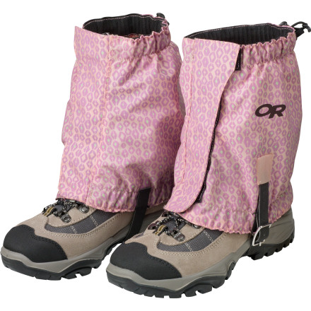 Camp and Hike A shoe full of pebbles or slushy snow can quickly sour an enthusiastic young hiker's day on the trail. Help avoid the scenario with a pair of Outdoor Research Kids' Trailhead Gaiters. The elastic tops and bottoms seal around boots and ankles to keep debris out while the hook-and-loop front closure makes for easy on and off. - $28.95