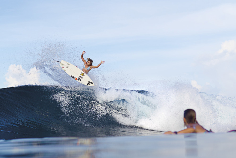 Surf LeeAnn Curren taking flight in the Mentawais