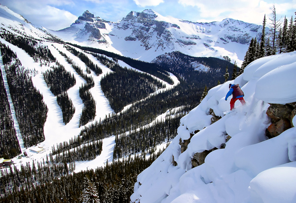 Snowboard Banff, Canada has three ski areas less than an hour away.  Stay at the Fairmont Banff Springs Hotel...a five star place with three star prices