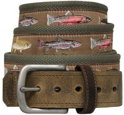 69f1d995500 Bison Designs Men s Pontoon Leather-Tip Belt - Trout Stor... - Thrill On