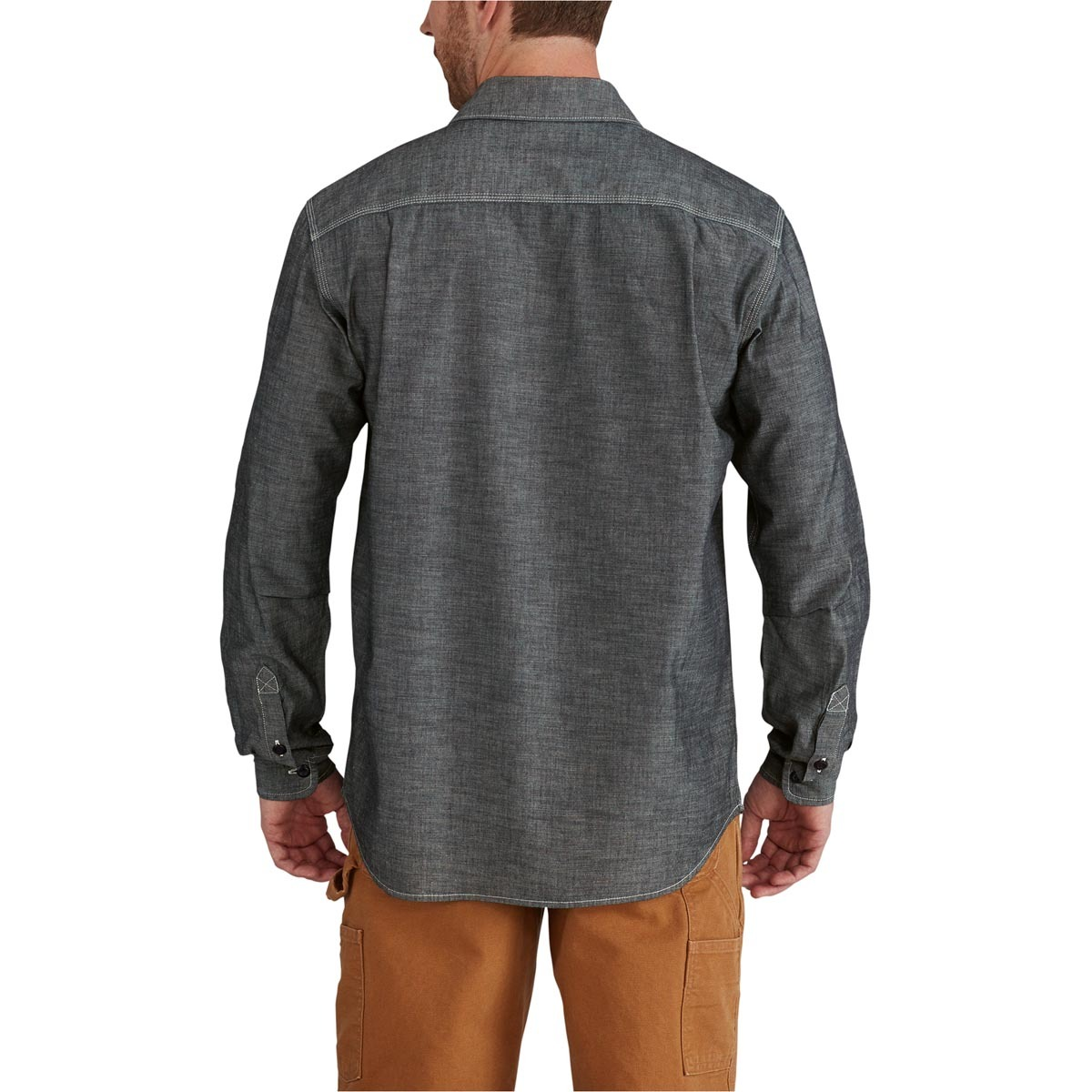 5e7a9ae54 102840 Carhartt Men's Rugged Outdoors Somerton Solid Long-Sleeve Shirt This  cotton chambray shirt is
