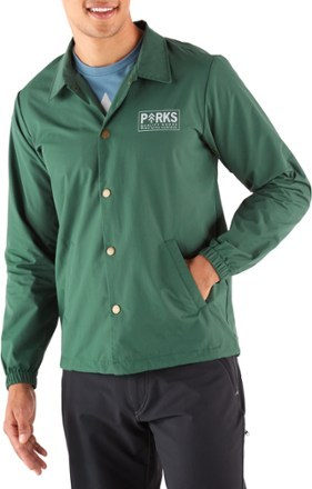 Rally your crew to support America's park lands with the men's Parks Project All 59 Parks Coaches jacket. This classic jacket style sports all the names of the parks we know, love and protect. - $60.00
