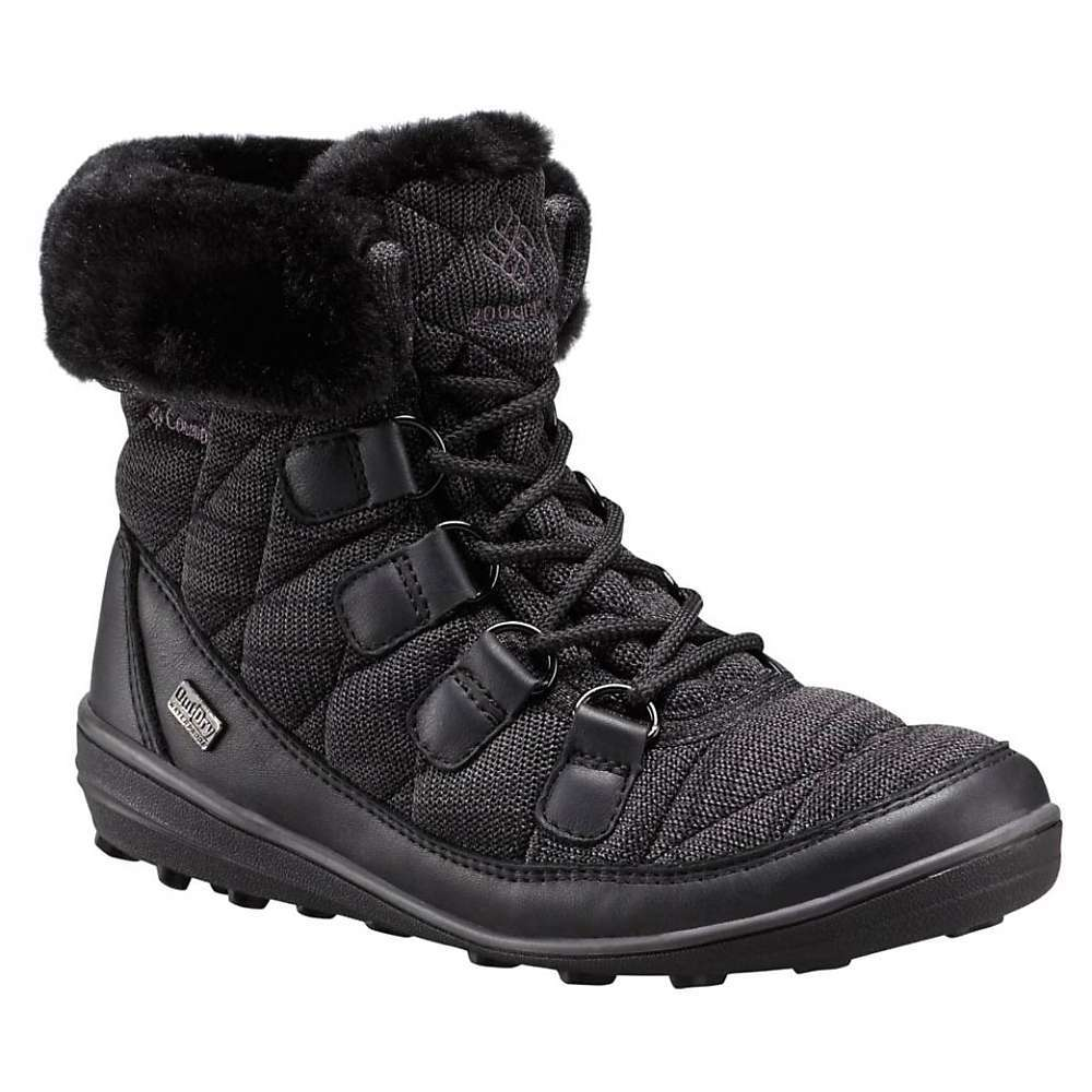 Features of the Columbia Women's Heavenly Chimera Shorty Omni-Heat Outdry Boot Upper: OutDry waterproof breathable construction, 200g Insulation. Rated -25F/-32C, Omni-Heat reflective lining, Knit and leather Upper. Faux fur lining Midsole: Removable contoured PU Footbed Outsole: Omni-Grip non-marking traction rubber - $150.00