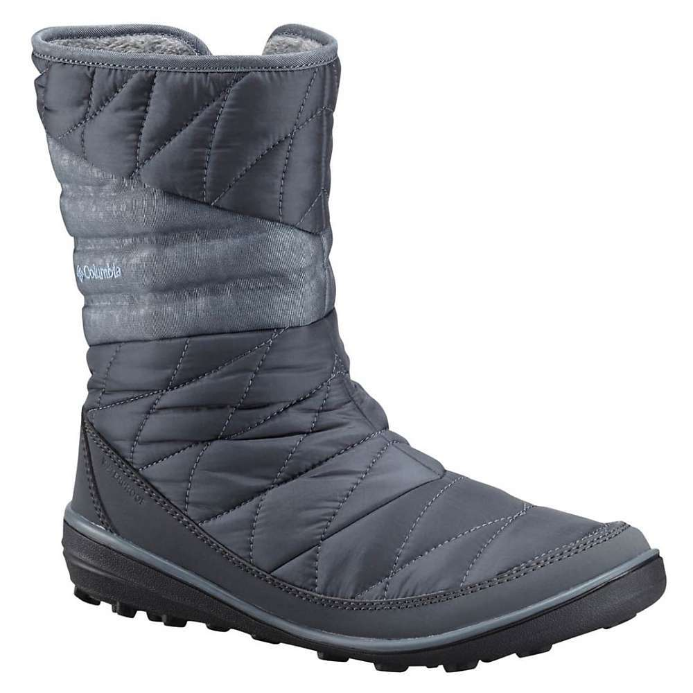 Features of the Columbia Women's Heavely Slip Omni-Heat Boot Upper: Waterproof woven synthetic textile and medial zipper. Soft faux-fur lining collar. Omni-Tech waterproof breathable seam-sealed membrane bootie construction. 200g Insulation. Rated -25F/-32C. Omni-Heat reflective lining Midsole: Removable contoured PU Footbed Outsole: Omni-Grip non-marking traction rubber - $130.00