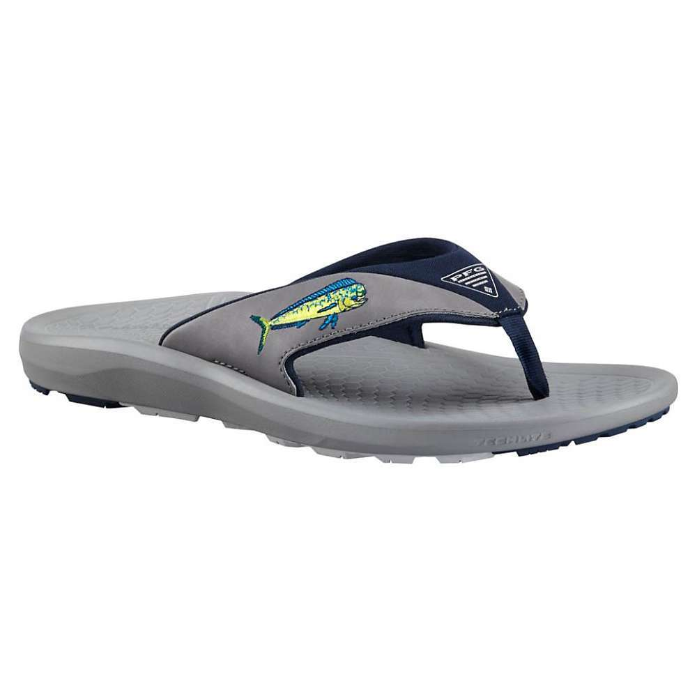 Features of the Columbia Men's Fish Flip PFG Sandal Upper: Synthetic Upper Midsole: Techlite lightweight Midsole for long lasting comfort, superior cushioning, and High energy return Outsole: Omni-Grip non-marking wet traction rubber - $50.00