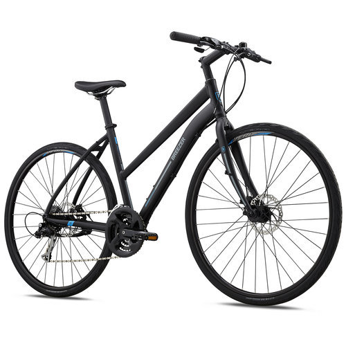 Breezer Liberty R2.3 ST Women's Hybrid Bike - 2018. Built to tackle hills, gravel paths and long distances, the on-road/off-road confidence-inspiring Liberty is packed with great features and designed to be efficient and affordable. The Liberty hybrid models are built on a light and durable D'Fusion hydroformed aluminum frame and feature a wide range of gears to navigate through city streets or country hills and roads.   The step-through frame makes riding comfortable and easy to access, a 3X Trekking crankset and 8-speed cassette give you 24 gearing options, with Shimano Altus 24-speed shifters and EZ-Fire levers for easy, reliable shifting. Vera City Wide tires provide a nice balance of speed, cushion and grip to get you wherever you need to go and for reliable braking power, the Liberty comes equipped with Tektro mechanical Disc Brakes for all-weather functionality. I you're looking for a fun, comfortable and versatile ride, the Breezer Liberty is the bike for you. - $559.99