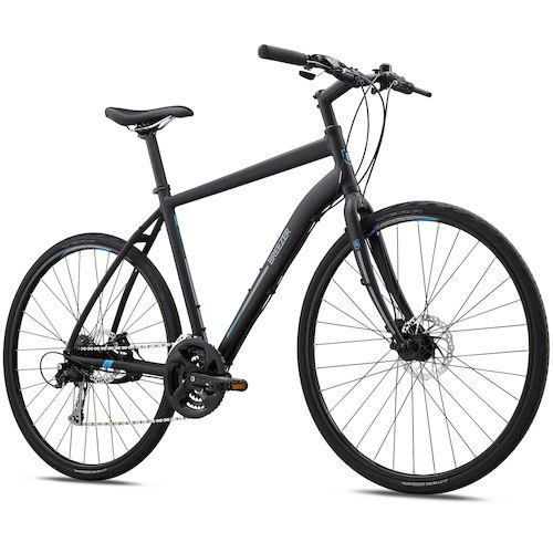 Breezer Liberty R2.3 City Bike - 2018.  The Breezer Liberty R2.3 is a well-designed city bike designed to give you the best of both worlds, optimal comfort and performance. With its full range of 24 speeds, this bike is well-suited to varying terrain and inclines and is perfectly suited for riding on streets, paths, and greenways. The Breezer Liberty R2.3 LE features a lightweight, durable custom Breezer aluminum frame and aluminum fork, making it well-equipped for city commuting. Its Tektro mechanical disc brakes deliver all the stopping power you need in any weather condition while the 24-speed Shimano drivetrain is the epitome of intuitive, precision gear changes. The Liberty R2.3 also includes Vera City Wide 700x32 tires for reliable, smooth-rolling performance. On top of its outstanding versatility, the Liberty R2.3 provides numerous comfort features to make your ride enjoyable such as the Breezer comfort saddle and Ergo comfort grips plus a kickstand for parking convenience when you're out and about around town. - $559.99