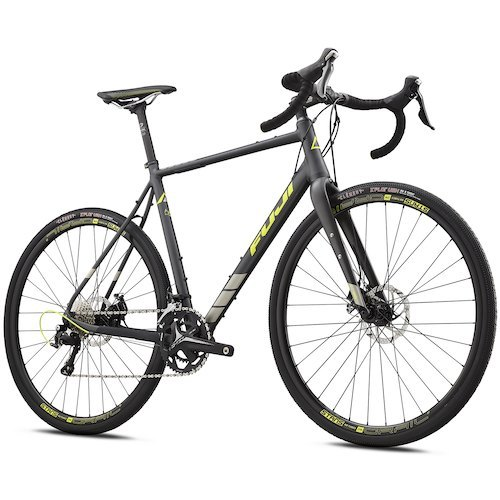 Fuji Jari 1.3 Gravel Bike - 2018. From the Flint Hills of Kansas to the Appalachian Mountains of North Carolina, gravel grinding is exploding, and bicycle manufacturers are taking note. Fuji's Jari 1.3 offers yet another option, suitable for aspiring grinder and Dirty Kanza veteran alike. With a snappy Shimano 105 11-speed drivetrain, powerful and hassle-free disc brakes, and a wide range of gears, the Fuji Jari 1.3is ready to go wherever, whenever. At the heart of the Jari is Fuji's custom-butted alloy frame. The light, stiff frame boasts semi-internal cable routing, helping minimize the impact of road dust and grime. The FC-440 Cross carbon monocoque fork, with a 12mm thru-axle, helps smooth out road buzz and keeps the bike on the straight and narrow while negotiating challenging gravel roads. Additionally, the carbon fork also features rack and water bottle mounts to facilitate extended gravel road adventures. The Shimano 105 11-speed drivetrain boasts exceptional range, with an FSA Omega Adventure 46/30T crankset paired with an 11-34T cassette in the back. Off-road adventurers benefit from the ability to spin up loose gravel climbs, and the double rings surpass 1x setups when the road turns downhill. TRP's HY/RD disc brakes provide superb modulation and stopping power, inspiring confidence on long, loose descents.  In rugged terrain, the action happens where the rubber meets the road. In this case, that rubber is the 700x35 version of the Clement X'Plor USH. The USH adventure tire is built for mixed use riding, with a firm center that minimizes rolling resistance and diamond-shaped side knobs that provide cornering traction in looser conditions. Stan's NoTubes Grail S1 wheels are the epitome of strength and use 12mm thru-axles front and rear to provide plentiful stiffness. - $1,539.99