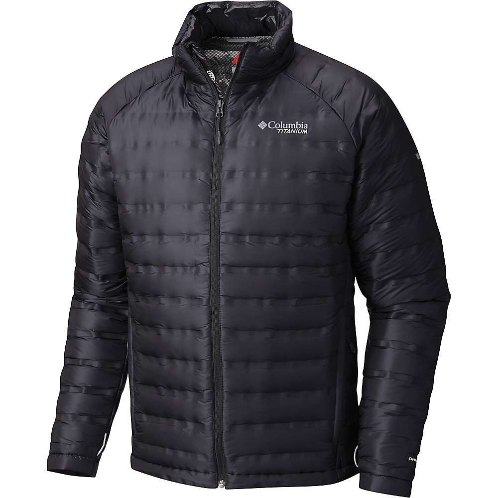 Features of the Columbia Titanium Men's Titan Ridge Down Jacket Heat Seal Wave Construction INTERCHANGE compatible Water resistant fabric Interior security pocket Zippered hand pockets Binding at cuffs Drawcord at hem Packable into hand pocket - $250.00