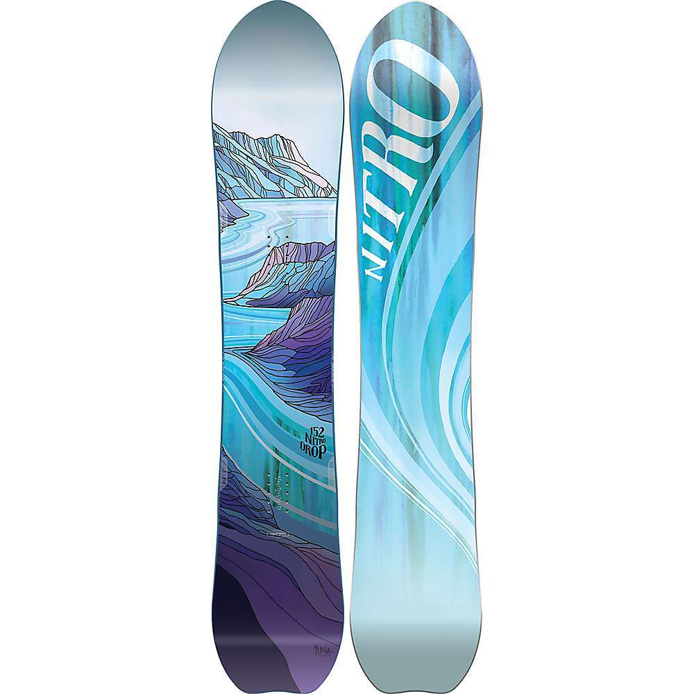 Features of the Nitro Women's The Drop SnowBoard Power Pods Bi-Lite laminates Sintered speed formula HD base Versatile directional shaped Board gives you the float you Are dreaming of without sacrificing the forgivingness and support you need to progress with our cam-out camber Carving down open groomers will be your new favorite morning activity with the added edge hold the power Pods offer Built for fun on and off the marked traTLS - $419.95
