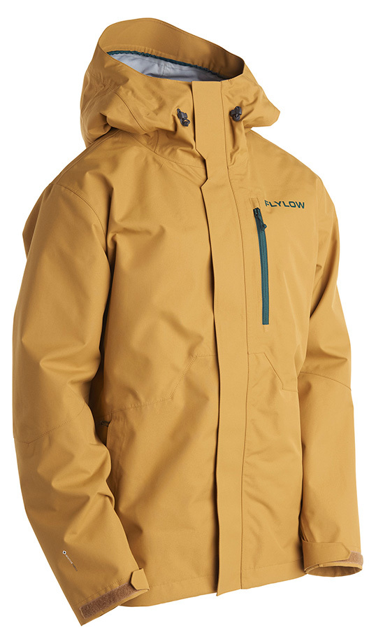 Flylow Knight Jacket - Men's: If you took your favorite work coat-that hard canvas jacket you've been wearing to chop firewood in for years-and turned it into a tough yet breathable, three-layer ski jacket with all the high-tech amenities, you'd have the Knight Jacket, a Toyota truck with Porsche-like features.     FEATURES     a   10k/10k waterproof breathable membrane  a   10-inch underarm vents  a   High performance DWR (Durable Water Repellent)  a   Fully seam taped  a   3 exterior pockets, inner media pocket  a   Powder skirt  a   Powder guard snaps  a   No Bulk Cuffs  a   YKK zippers     WEIGHT:  765 grams (avg)  MATERIAL(s):  3-layer Intuitive(TM) 100% Polyester Fabric - $275.00