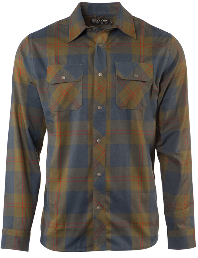 Flylow Handlebar Tech Flannel - Men's: The Handlebar Tech Flannel so outshines and outperforms other flannel shirts, it's a shame to even call it a flannel. It's like a super flannel. Made from high-tech polyester, this shirt wicks sweat, dries fast, and regulates your temperature-bet your old thrift store version can't do that.   FEATURES: a   Duraflex snap buttons  a   Work shirt fit and styling  a   Two buttoned chest pockets   WEIGHT: 267 grams (avg) MATERIAL(s): 100% polyester - $90.00