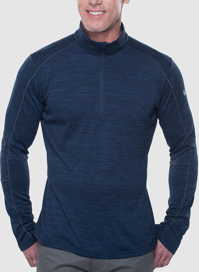 "Kuhl Alloy Pullover - Men's:  FEATURES  The KAoeHL ALLOY(TM) SWEATER features soft, lightweight sweater-knit fabric with great breathability, wicking properties and UPF 15. The fabric has a touch of stretch for comfort.  Sewn with DYNAMIK(TM) stitching for more stretch and strength than traditional flatlock, low bulk seams make layering comfortable and easy. KAoeHL's articulated 5-panel sleeves provide better range of motion.  The ALLOY SWEATER features KAoeHL's signature thumb loops to lock out the cold, an 11-inch reverse coil zipper with draft flap and chin guard, and an interior locker loop for storage.  ADVANCED FABRICS   	Fabric: main body: 100% Polyester | 5.9 oz/sq. yd; 200 GSM 	Soft, lightweight sweater-knit fabric has great breathability, wicking properties and stretch for comfort 	11"" reverse coil zipper with draft flap and chin guard   DIFFERENT BY CONSTRUCTION   	DYNAMIK(TM) stitching 	KAoeHL's exclusive articulated 5-panel sleeves for better range of motion   DIFFERENT BY DESIGN   	KAoeHL signature thumb loops 	Interior locker loop 	UPF 15 	Imported - $85.00"