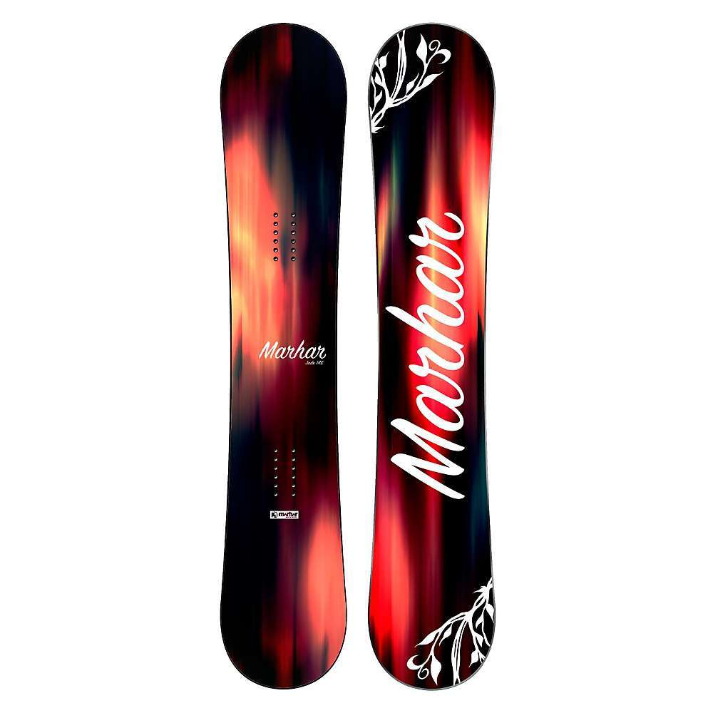 Features of the Marhar Women's Jade SnowBoard All mountain versatility, this Board is fast, aggressive, stable, has exceptional edge hold and is loaded with energy and pop The camber zone creates stability, energy, and pop with tremendous edge hold you can trust when you need it most while the mild flat and Rocker zones in the tips allow for a smooth, playful Freestyle feel Dual Arc Edges yield a multiple radius sidecut that creates superb edge hold and quick maneuverability when laying into a carve Lightweight carbon adds strength and durability in High stress Areas UHMWPE sidewalls have Higher durability, flex, and bonding abilities Sintered base holds more wax and is much stronger than an extruded base Fiberglass reinforcement adds torsional strength for more versatility and stability Rubber bonding system creates a bomb proof bond between materials and helps to absorb chatter - $448.95