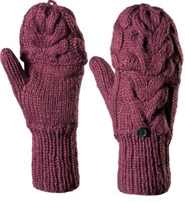 Our Womens Casper Range Glomitts give you two options for wear cover your fingers with mitten-like warmth or flip the tops back for full-finger dexterity when needed. Buttons on the backs of the wrists allow you to secure the convertible tops when theyre not needed. Warm 100% acrylic chunky cable knit traps body heat, effectively guarding against the chill. Soft polyester-fleece lining in the palms offers additional warmth. One size fits most. Imported. Colors: Black, Sugar Plum. Size: ONE SIZE. Color: Black. Gender: Female. Age Group: Adult. Material: Acrylic. Type: Gloves. - $29.99