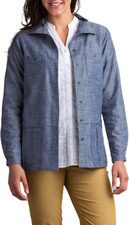 The ExOfficio Sol Cool Chambray women's shirt jacket is crafted from a soft, jade-infused, synthetic and Tencel(R) lyocell blend that keeps you cool and blocks the sun on your travels and hikes. - $64.73