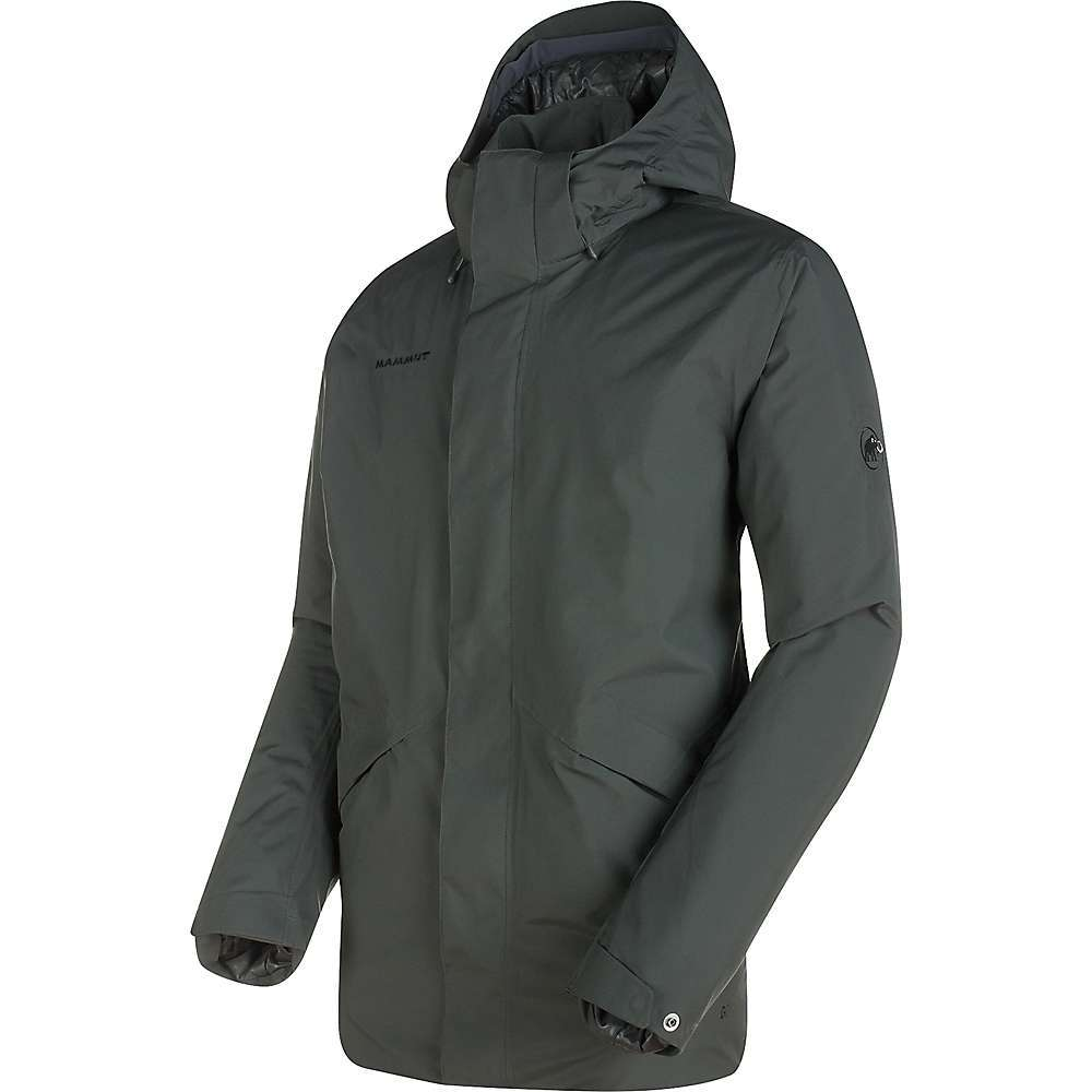 Features of the Mammut Men's Roseg HS Thermo Jacket Gore-Tex material with 28,000 mm water column Snap buttons to adjust the cuff width 2 Side pockets with zips 1 Internal zipper pocket with multimedia cable outlet Detachable hood with a 2-point adjustment system on the inside Adjustable hem width Preformed elbows Covered front zipper - $374.95