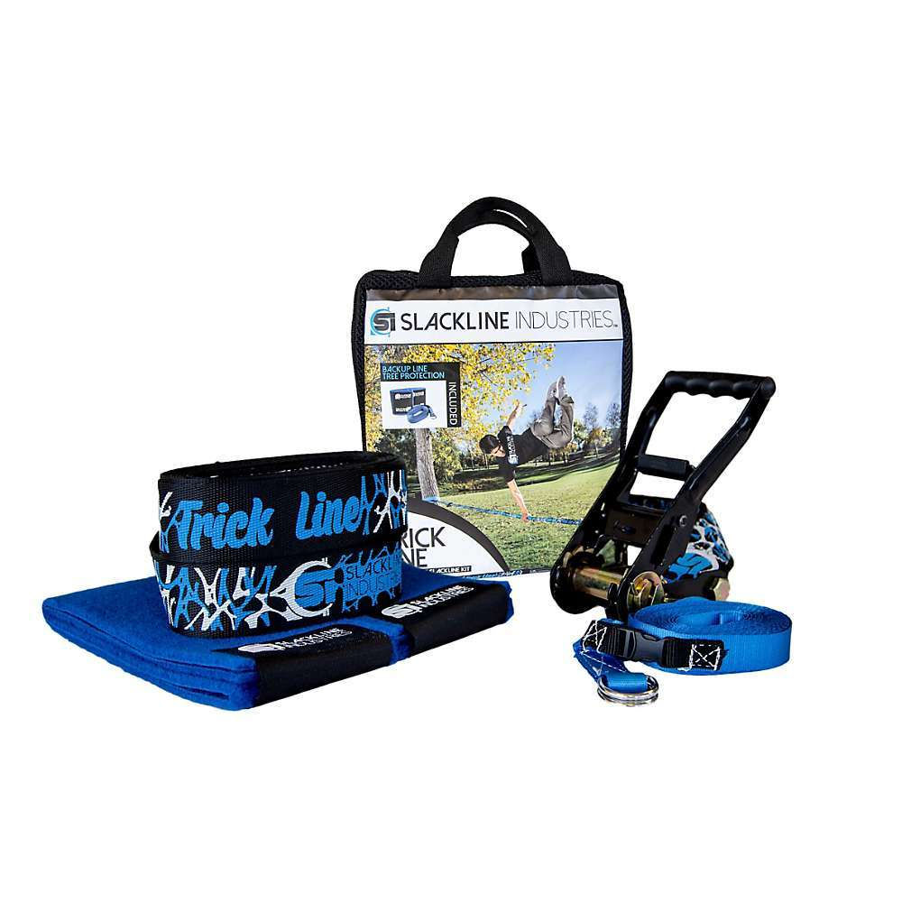 Features of the Slackline Industries Trick Line Slackline Kit Two-piece slackline is fully adjustable and easily installed between trees or other sturdy anchor points Improve balance skills, core strength, and coordination while having fun Kit includes slackline, ratchet tensioner, tree protection and safety backup line The easy-to-use ratchet comes with 8 feet of webbing and a reinforced loop to firmly anchor and tension the slackline. The handle grip is a soft plastic for comfortable and efficient tensioning and the ratchet release is also rubberized for easy and safe release of the tension on the line Custom-designed trampoline-style webbing is made for slacklining and provides extra bounce for dynamic tricks - $74.95