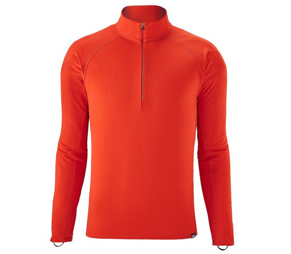 The Patagonia Men's Capilene Midweight Zip-Neck. Our most versatile baselayer with the greatest comfort range is made with Polartec(R) Power Grid(TM) fabric with Polygiene(R) permanent odor control and Fair Trade Certified(TM) for sewing.    Features:    Polartec(R) Power Grid(TM) fabric has a smooth face for easy layering; fabric's brushed-grid pattern next to skin provides superior warmth, breathability and moisture-wicking performance with Polygiene(R) permanent odor control  Long center-front zipper vents body heat and is backed by kissing welts for low-bulk comfort next to skin  Raglan shoulder seam for better fit and mobility  Full underarm gusset for range of motion and chafe-free comfort  Elastic thumb loops help to cover hands  Flatlock seams minimize chafing; drop tail for better coverage  213 g (7.5 oz) - $69.00