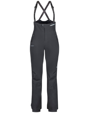 """Ski hard in waterproof gear with the women's Spire bib from Marmot. If three layers of waterproof GORE-TEX material don't keep you dry, the taped seams, internal gaiters, and water-resistant full side zips and hand pocket zips will do the trick. Durable Cordura scuff guards and articulated knees are the cherries on top of the reliable, high-performing Marmot Spire bib for women.   	 		Triple-layer construction and Cordura scuff guards for durability 	 		Water-resistant side zips and zippered hand pockets prevent leaks 	 		Articulated knees for freedom of movement  ."""""" - $390.00"