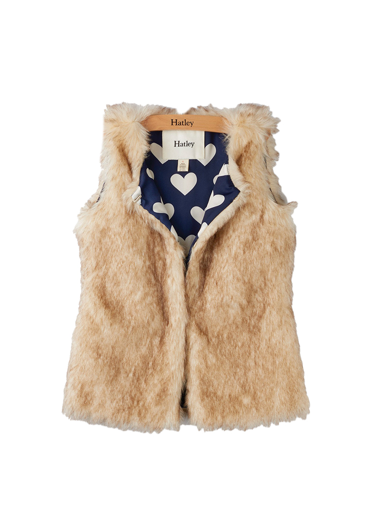 DESCRIPTION:She'll look fab in the Hatley Honey Brown Faux Fur Vest.   FEATURES:Open front with hook and eye closure Contrast printed lining 70% acrylic, 30% polyester - $76.00