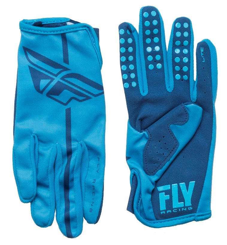 Fly Racing Lite GlovesThis lightweight race glove features a soft feel to keep your hands comfortable and your grip tight. The single-layer perforated synthetic leather palms improve airflow and save weight without sacrificing grip. The spandex on the fingers increases sidewall flexibility and airflow. Silicone finger grippers ensure confidence in braking. The reinforced double-layer thumb offers extra protection.FeaturesAthletic fit stays close to hand, preventing excess or loose gripPerforated synthetic leather palms gives you an affinity for gripping the bars while maintaining airflowSpandex finger gusset increases flexibility of digits and ventilationsilicone finger grippers for excellent braking controlReinforced double-layer thumb gives an extra layer of protectionFly Racing GlovesSIZE CHARTSize9101112GuysMediumLargeExtra LargeXX LargeGirlsExtra LargeXX LargeN/AN/A - $21.95