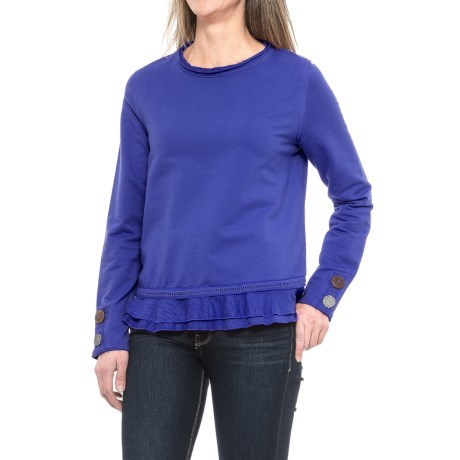CLOSEOUTS . Casual, charming and oh-so-comfy; Neon Buddhaand#39;s Cape Side shirt is fashioned from soft, stretchy French terry and upgrades your weekend look with large mixed media buttons and a playful ruffled hem. Available Colors: PURPLE, PINK BERRY, KHAKI, DEEP ROYAL. Sizes: XS, S, M, L, XL. - $24.99